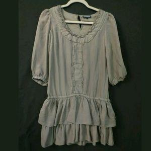 Warehouse 100% Silk dress Gray sheer ruffles